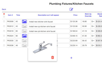 Picture of faucet in Category entry of Flat Rate Price Book