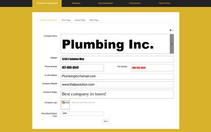Company Information Page of Flat Rate Price Book Software App