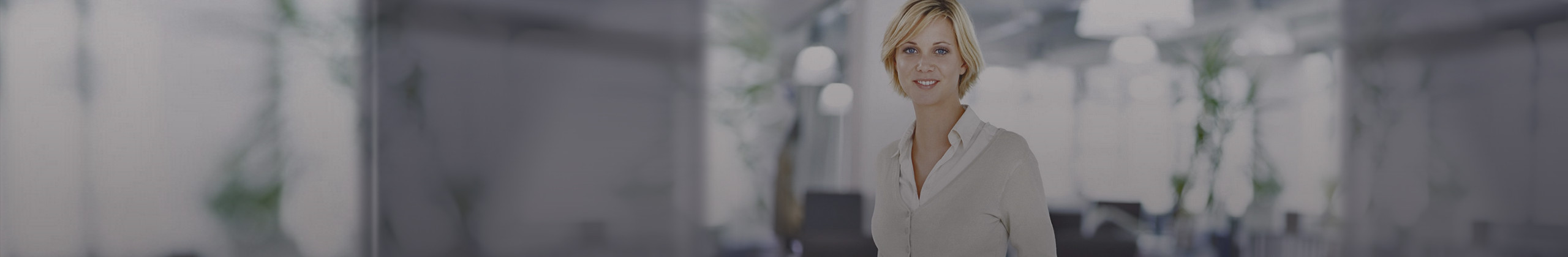 Blonde short hair | business app | Blue eyes